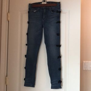 Bow lined denim from Anthropologie